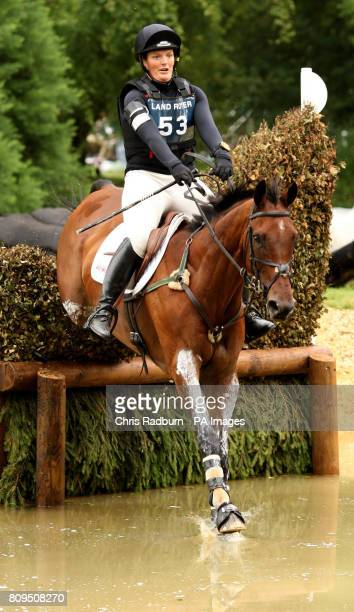 Elizabeth Power on Kilpatrick River as they pass through the Trout Hatchery in the Cross Country Event during The Land Rover Burghley Horse Trials...