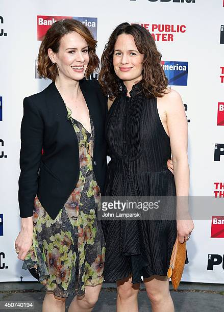 Elizabeth Reaser and Sarah Paulson attend The Public Theater's Opening Night Of 'Much Ado About Nothing' at Delacorte Theater on June 16 2014 in New...