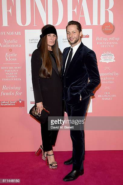 Elizabeth Saltzman and Derek Blasberg at The Naked Heart Foundation's Fabulous Fund Fair in London at Old Billingsgate Market on February 20 2016 in...