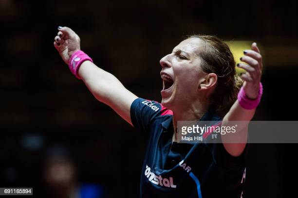Elizabeth Samara of Rumania celebrates during Women Single second round at Table Tennis World Championship at Messe Duesseldorf on June 1 2017 in...