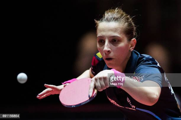 Elizabeth Samara of Rumania competes during Women Single second round at Table Tennis World Championship at Messe Duesseldorf on June 1 2017 in...