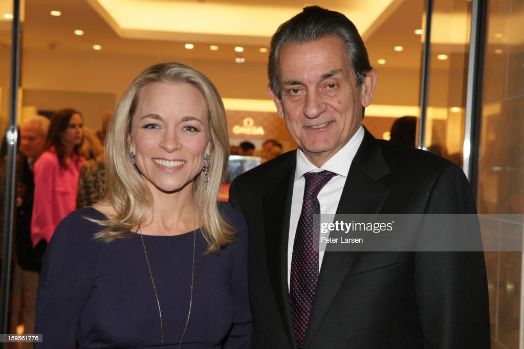 Elizabeth Showers and President of Omega Stephen Urquhart attend the Grand Opening of the Omega Boutique at NorthPark on January 15, 2013 in Dallas, Texas.