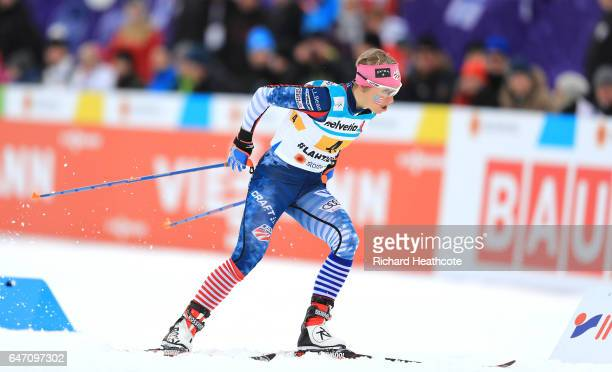 Elizabeth Stephen of the United States competes during the Women's Cross Country 4x5km Relay at the FIS Nordic World Ski Championships on March 2...