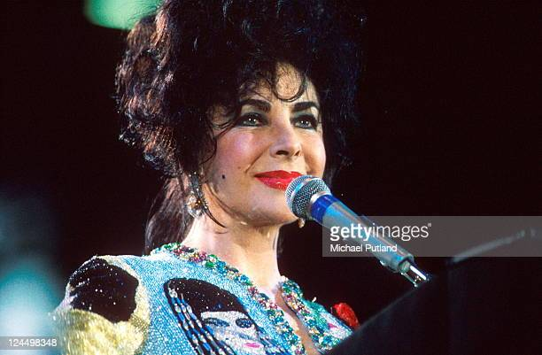 Elizabeth Taylor appears at the Freddie Mercury Tribute concert Wembley Stadium London 20th April 1992