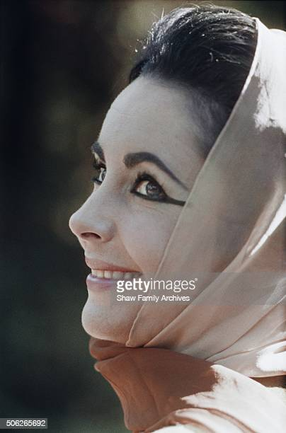 Elizabeth Taylor in 1961 during the filming of 'Cleopatra' in Rome Italy