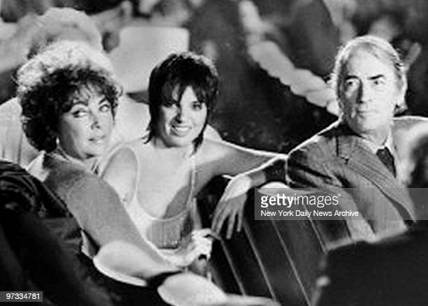 Elizabeth Taylor Liza Minnelli and Gregory Peck in audiance at 'Night of 100 Stars' at Radio City Music Hall