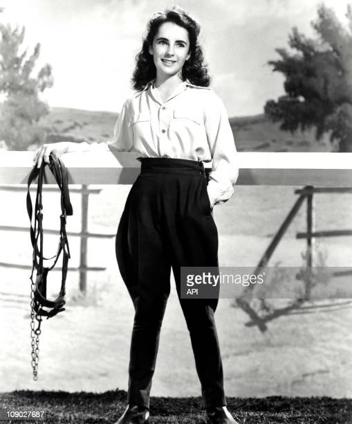 Elizabeth Taylor on the film set of ' National Velvet' directed by Clarence Brown in 1944