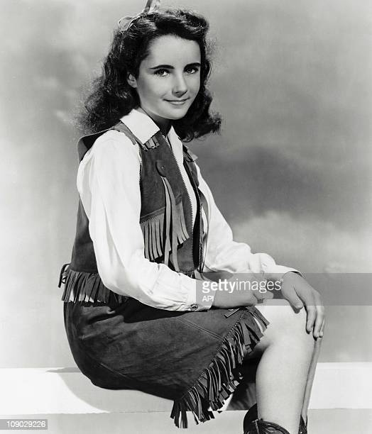 Elizabeth Taylor on the film set of 'National Velvet' directed by Clarence Brown in 1944