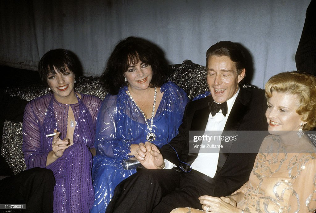 Elizabeth Taylor with Liza Minnelli and Halston and Betty Ford at Studio 54 in NYC