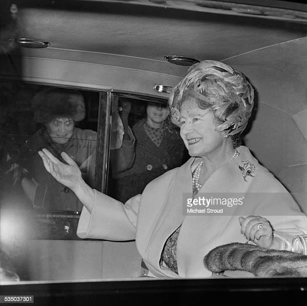 Elizabeth The Queen Mother leaves London to join members of the royal family at Sandringham House 1967