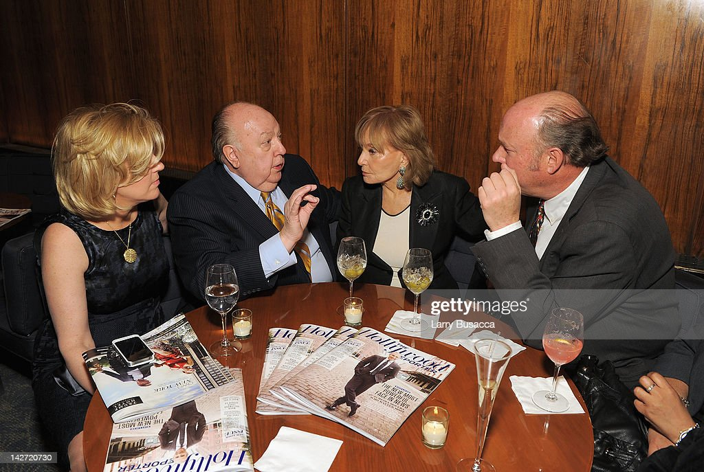 Elizabeth Tilson Ailes, Roger Ailes, President of Fox News Channel and Barbara Walters attend the Hollywood Reporter celebration of 'The 35 Most Powerful People in Media' at the Four Season Grill Room on April 11, 2012 in New York City.