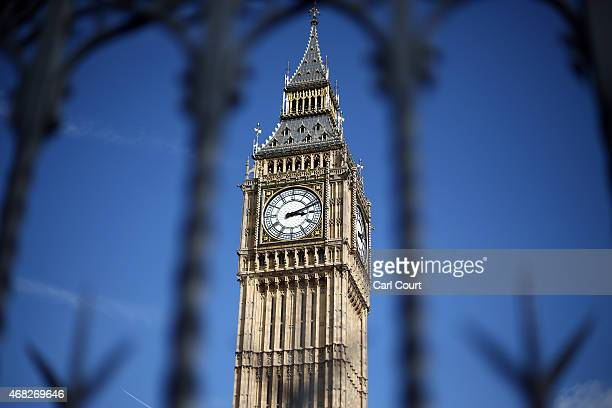Elizabeth Tower commonly called Big Ben is pictured on April 1 2015 in London United Kingdom Parliament has been dissolved as campaigning gets under...