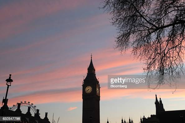 Elizabeth Tower commonly referred to as Big Ben stands as part of the Houses of Parliament as the sun rises in London UK on Tuesday Jan 24 2017 The...