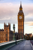 Palace of Westminster Elizabeth Tower aka Big Ben as seen from the Westminster Bridge in a morning light, London, UK