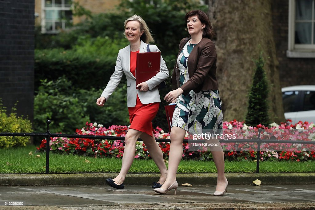Elizabeth Truss, Secretary of State for Environment, Food and Rural Affairs and Nicky Morgan, Secretary of State for Education, Minister for Women and Equalities (R) arrive for a cabinet meeting at Downing Street on June 27, 2016 in London, England. British Prime Minister David Cameron is due to chair an emergency Cabinet meeting this morning, after Britain voted to leave the European Union. Chancellor George Osborne spoke at a press conference ahead of the start of financial trading and outlining how the Government will 'protect the national interest' after the UK voted to leave the EU.
