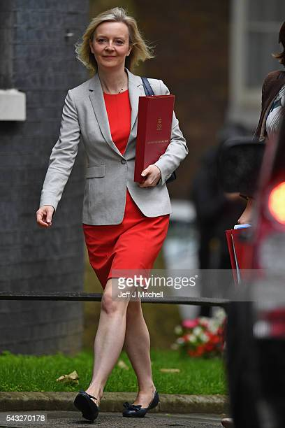 Elizabeth Truss Secretary of State for Environment Food and Rural Affairs arrives for a cabinet meeting at Downing Street on June 27 2016 in London...