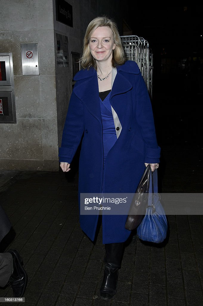 MP Elizabeth Truss sighted departing BBC London Studios on January 29, 2013 in London, England.