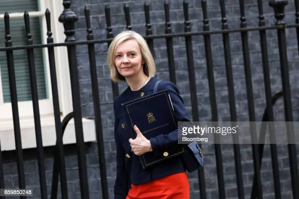 Elizabeth Truss UK justice secretary arrives for a cabinet meeting at Downing Street in London UK on Wednesday March 29 2017 The UK will start the...