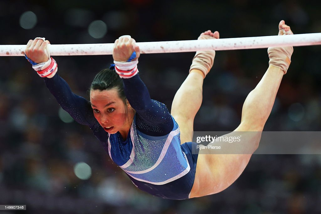 Elizabeth Tweddle of Great Britain competes in the Artistic Gymnastics Women's Uneven Bars final on Day 10 of the London 2012 Olympic Games at North Greenwich Arena on August 6, 2012 in London, England.
