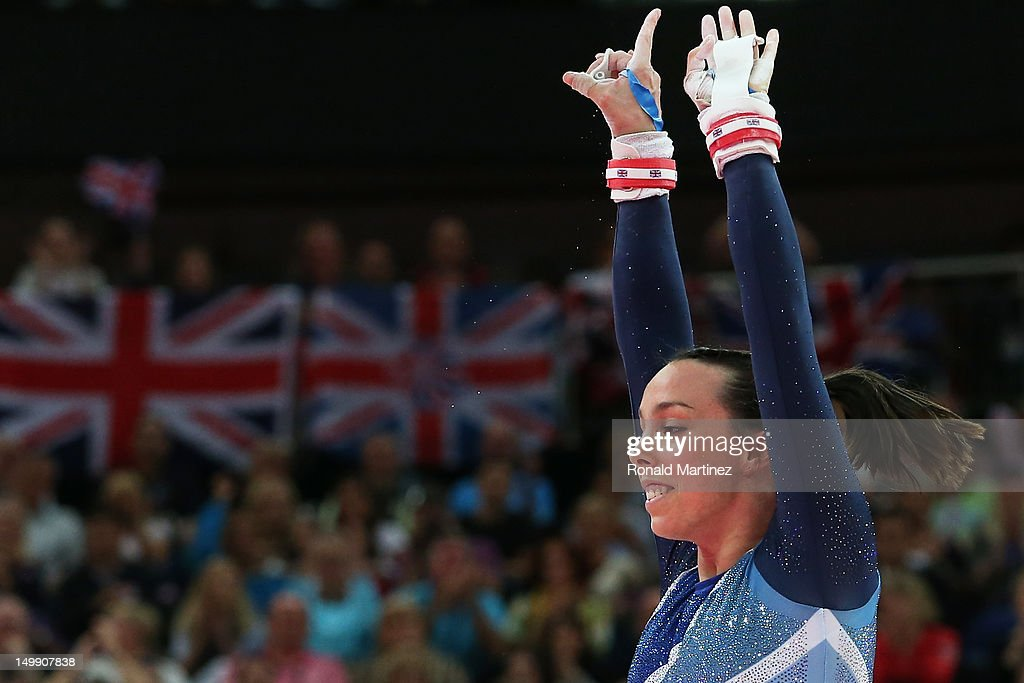 Elizabeth Tweddle of Great Britain reacts after competing in the Artistic Gymnastics Women's Uneven Bars final on Day 10 of the London 2012 Olympic Games at North Greenwich Arena on August 6, 2012 in London, England.