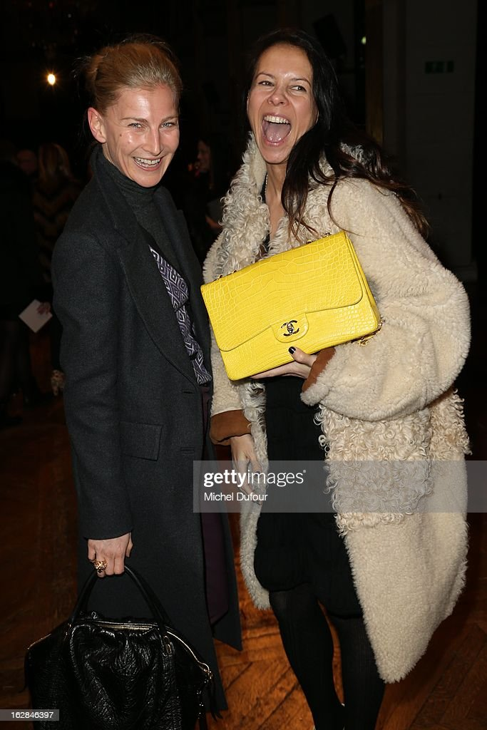 Elizabeth von Guttman and Charlotte Stockdale attend the Balmain Fall/Winter 2013 Ready-to-Wear show as part of Paris Fashion Week on February 28, 2013 in Paris, France.