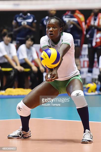 Elizabeth Wanyama of Kenya receives in the match between Russia and Kenya during the FIVB Women's Volleyball World Cup Japan 2015 at Yoyogi National...
