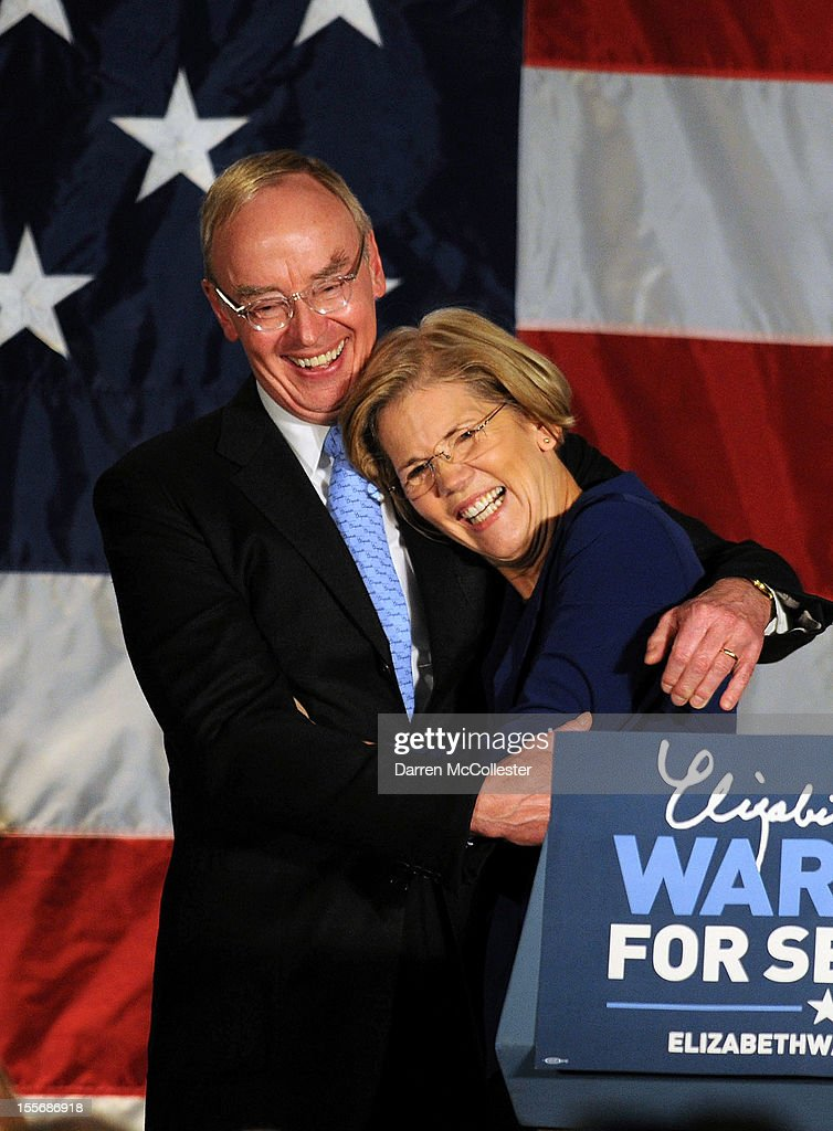 <a gi-track='captionPersonalityLinkClicked' href=/galleries/search?phrase=Elizabeth+Warren&family=editorial&specificpeople=5396017 ng-click='$event.stopPropagation()'>Elizabeth Warren</a> hugs husband Bruce Mann after her acceptance speech after beating incumbent U.S. Senator Scott Bown at the Copley Fairmont November 6, 2012 Boston, Massachusetts. The campaign was highly contested and closely watched and went down to the wire.