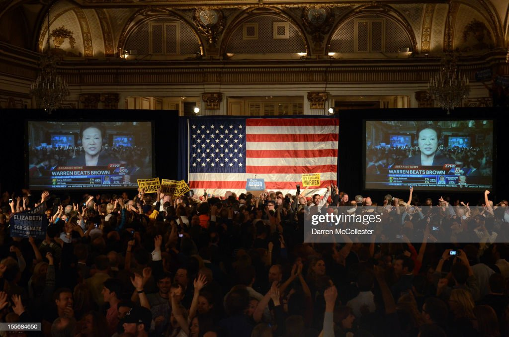 Elizabeth Warren is announced the winner beating incumbent U.S. Senator Scott Bown at Warren headquarters Copley Fairmont November 6, 2012 Boston, Massachusetts. The campaign was highly contested and closely watched and went down to the wire.