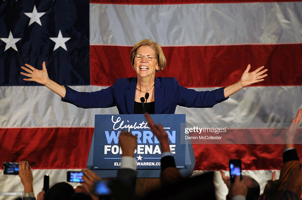 <a gi-track='captionPersonalityLinkClicked' href=/galleries/search?phrase=Elizabeth+Warren&family=editorial&specificpeople=5396017 ng-click='$event.stopPropagation()'>Elizabeth Warren</a> takes the stage for her acceptance after beating incumbent U.S. Senator Scott Bown at the Copley Fairmont November 6, 2012 Boston, Massachusetts. The campaign was highly contested and closely watched and went down to the wire.