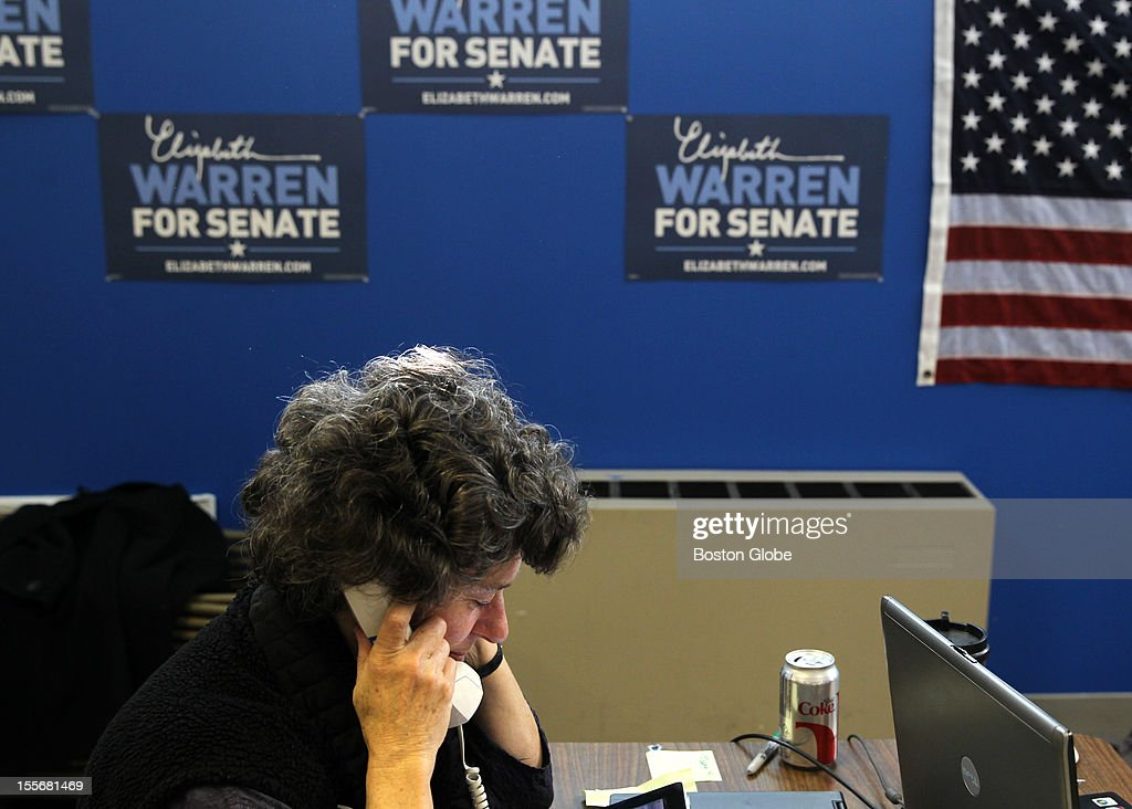Elizabeth Warren Volunteer Louise Weed works the phones at the candidate's Somerville headquarters on Election Day, Nov. 6, 2012.