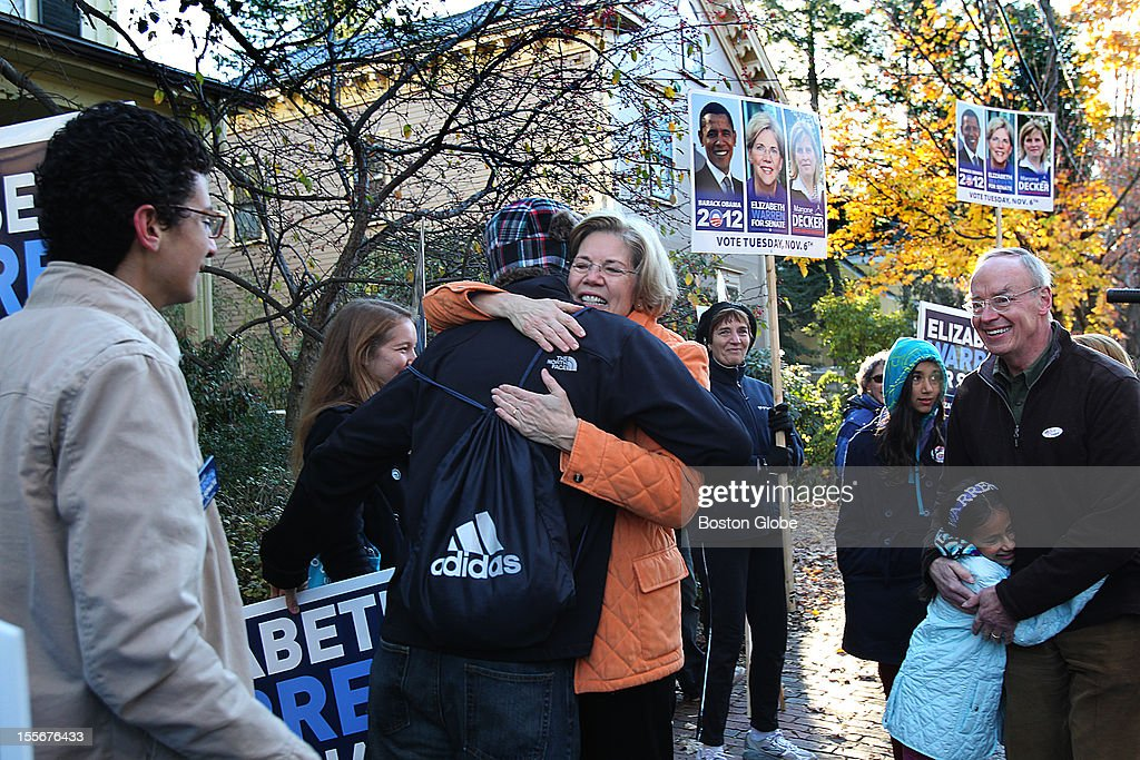 Elizabeth Warren votes and greets supporters at the Graham and Parks School on Election Day.