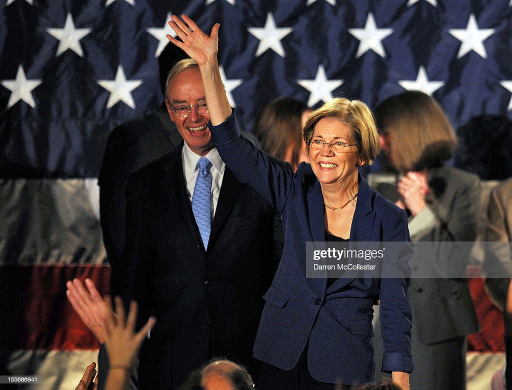 <a gi-track='captionPersonalityLinkClicked' href=/galleries/search?phrase=Elizabeth+Warren&family=editorial&specificpeople=5396017 ng-click='$event.stopPropagation()'>Elizabeth Warren</a> waves to the crowd after her acceptance speech after beating incumbent U.S. Senator Scott Bown at the Copley Fairmont November 6, 2012 Boston, Massachusetts. The campaign was highly contested and closely watched and went down to the wire.