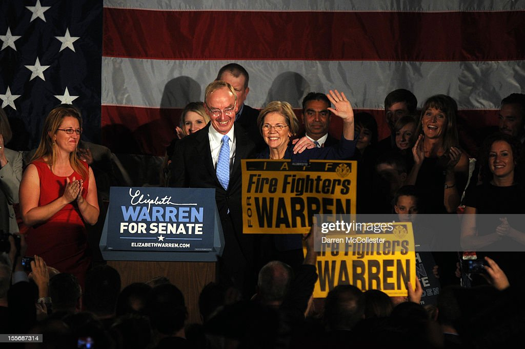 <a gi-track='captionPersonalityLinkClicked' href=/galleries/search?phrase=Elizabeth+Warren&family=editorial&specificpeople=5396017 ng-click='$event.stopPropagation()'>Elizabeth Warren</a> waves to the crowd alongside husband Bruce Mann after her acceptance after beating incumbent U.S. Senator Scott Bown at the Copley Fairmont November 6, 2012 Boston, Massachusetts. The campaign was highly contested and closely watched and went down to the wire.