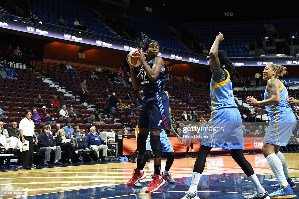 Elizabeth Williams #52 of the Atlanta Dream grabs the rebound against the Chicago Sky in a WNBA preseason game on May 5, 2016 at the Mohegan Sun Arena in Uncasville, Connecticut.