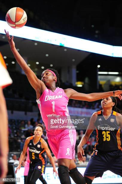 Elizabeth Williams of the Atlanta Dream shoots a lay up during the game against the Connecticut Sun during at WNBA game on August 15 2017 at Hank...