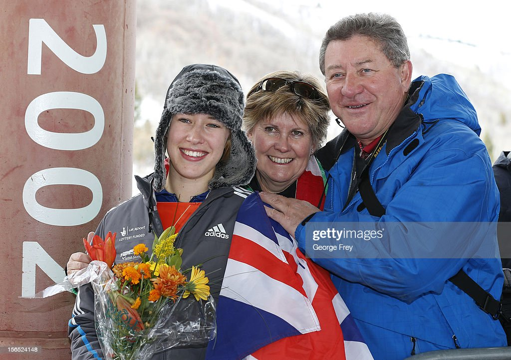 Elizabeth Yarnold of Great Britain (L), celebrates her second place finish in the FIBT women's skeleton world cup with her aunt and uncle Sue Yarnold (C), and Barney Yarnold (L), on November 16, 2012 at Utah Olympic Park in Park City, Utah.