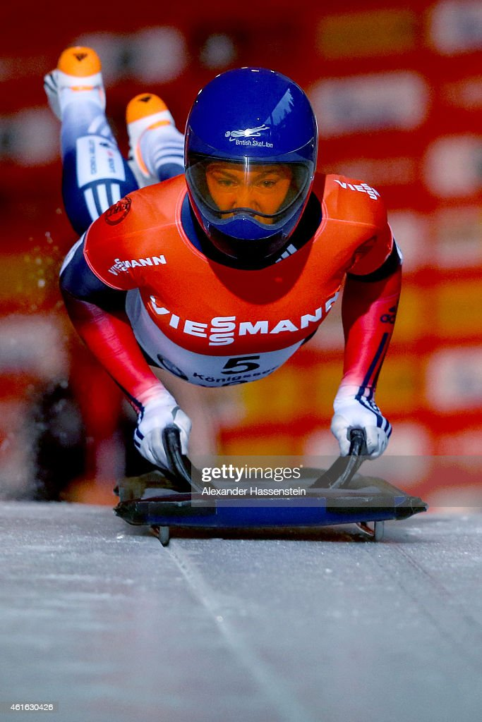 Elizabeth Yarnold of Great Britain competes during Viessmann FIBT Sceleton World Cup at Deutche Post Eisarena on January 16, 2015 in Koenigssee, Germany.