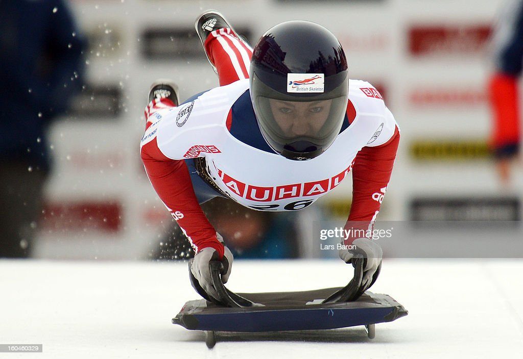 Elizabeth Yarnold of Great Britain competes in the women's skeleton third heat of the IBSF Bob & Skeleton World Championship at Olympia Bob Run on February 1, 2013 in St Moritz, Switzerland.