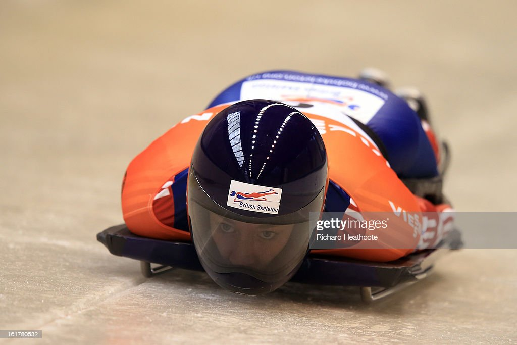 Elizabeth Yarnold of Great Britian launches herself down the track during the Women's Skeleton Viessman FIBT Bob & Skeleton World Cup at the Sanki Sliding Center in Krasnya Polyana on February 16, 2013 in Sochi, Russia. Sochi is preparing for the 2014 Winter Olympics with test events across the venues.