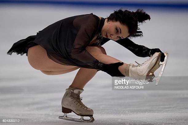 TOPSHOT Elizaveta Tuktamysheva of Russia performs during the ladies free skating at the Ice Dance short dance at the Cup of China ISU Grand Prix of...