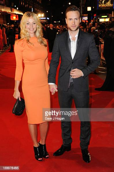 Elize Du Toit and Rafe Spall attend the European premiere of 'I Give It A Year' at The Vue West End on January 24 2013 in London England