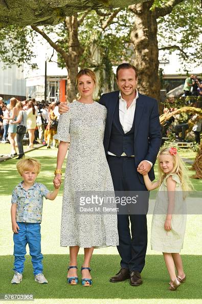 Elize du Toit and Rafe Spall pose with children Rex Spall and Lena Spall at the UK Premiere of 'The BFG' at Odeon Leicester Square on July 17 2016 in...