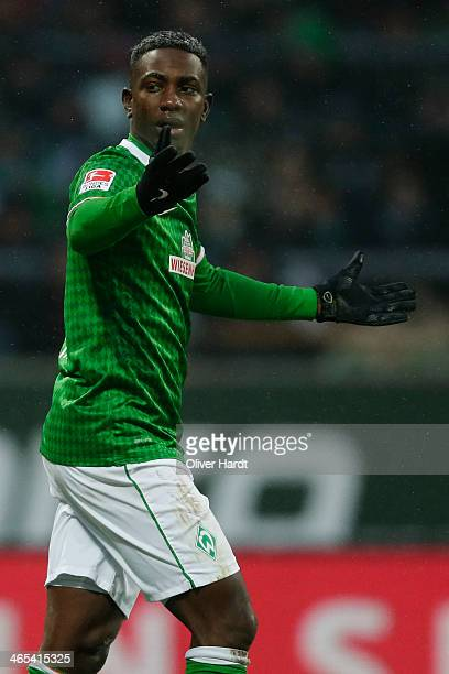 Eljero Elia of Bremen appears frustrated during the Bundesliga match between Werder Bremen and Eintracht Braunschweig at Weserstadion on January 26...