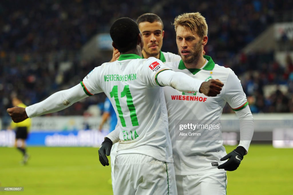 <a gi-track='captionPersonalityLinkClicked' href=/galleries/search?phrase=Eljero+Elia&family=editorial&specificpeople=2199495 ng-click='$event.stopPropagation()'>Eljero Elia</a> of Bremen celebrates his team's second goal with team mates Aaron Hunt and Franco di Santo during the Bundesliga match between 1899 Hoffenheim and Werder Bremen on November 30, 2013 in Sinsheim, Germany.