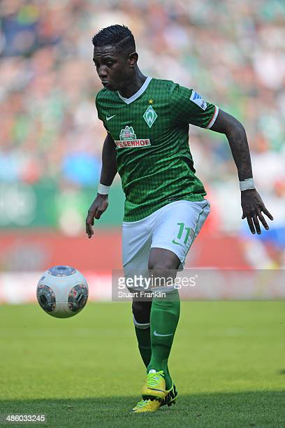 Eljero Elia of Bremen in action during the Bundesliga match between Werder Bremen and 1899 Hoffenheim at Weserstadion on April 19 2014 in Bremen...