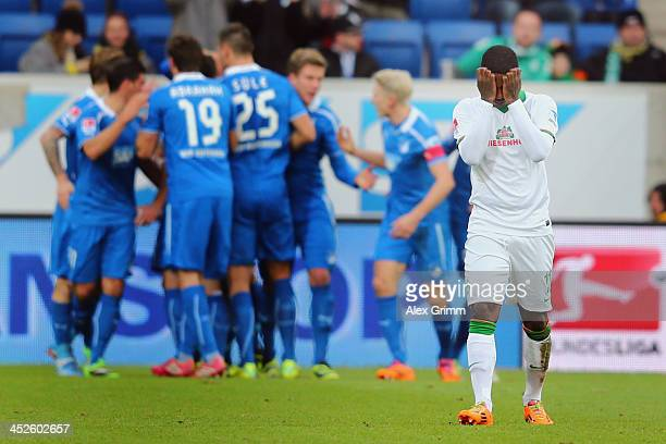 Eljero Elia of Bremen reacts as Sejad Salihovic of Hoffenheim celebrates his team's second goal with team mates during the Bundesliga match between...