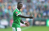 Eljero Elia of Bremen reacts during the Bundesliga match between SV Werder Bremen and SC Freiburg at Weserstadion on October 4 2014 in Bremen Germany