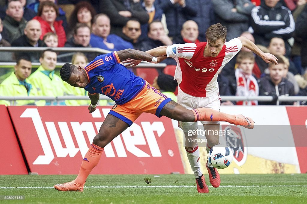 Eljero Elia of Feyenoord, Joel Veltman of Ajax during the Dutch Eredivisie match between Ajax Amsterdam and Feyenoord Rotterdam at the Amsterdam Arena on February 07, 2016 in Amsterdam, The Netherlands