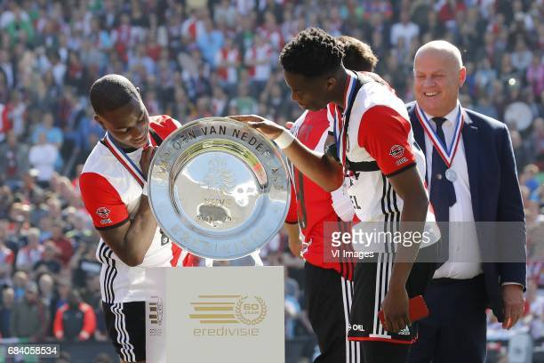 Eljero Elia of Feyenoord Terence Kongolo of Feyenoord with the dishduring the Dutch Eredivisie match between Feyenoord Rotterdam and Heracles Almelo...