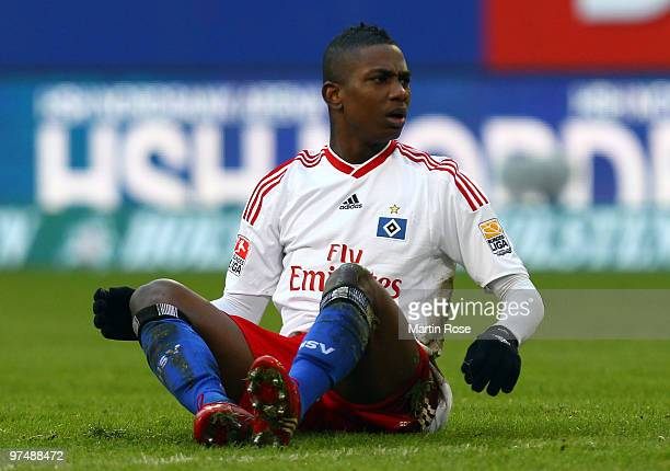 Eljero Elia of Hamburg reacts during the Bundesliga match between Hamburger SV and Hertha BSC Berlin at HSH Nordbank Arena on March 6 2010 in Hamburg...